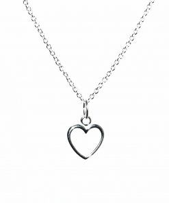 Open Heart Sterling Silver Necklace Closeup