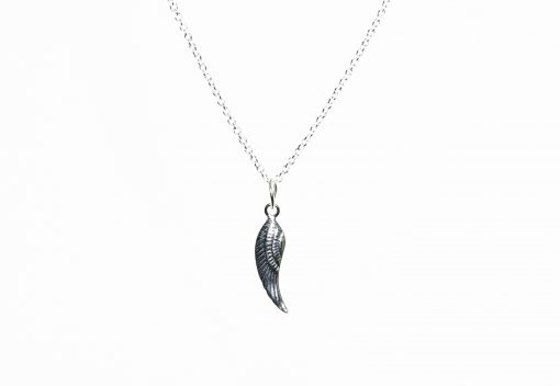 Angel Wing Sterling Silver Necklace Closeup