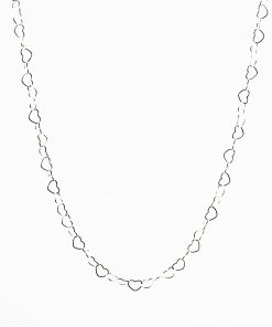Open Heart Link Silver Necklace