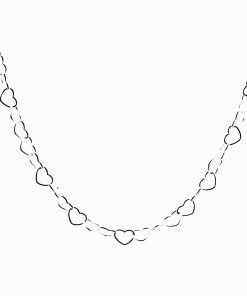 Open Heart Link Silver Necklace Close
