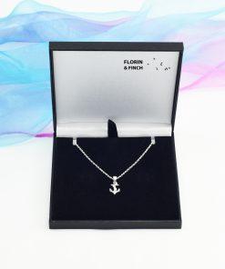 Silver Anchor Necklace Case