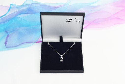 Silver Bow Tie Cat Necklace Case