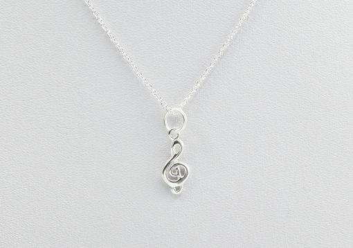 Silver Clef Musical Necklace Talisman