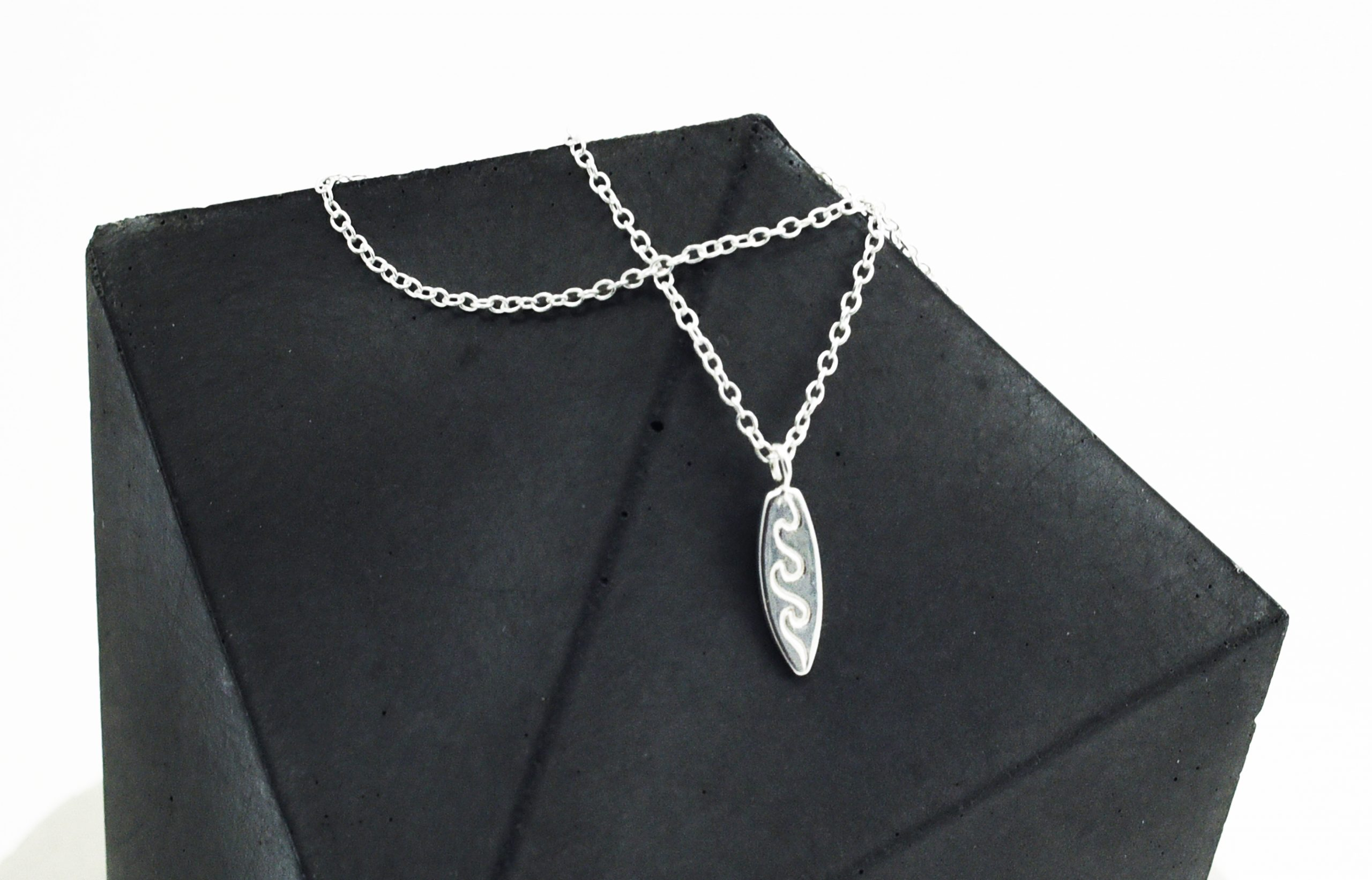 Silver Surf Board Necklace