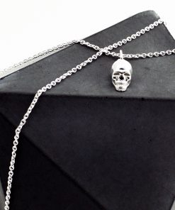 Silver Skull Charm Necklace