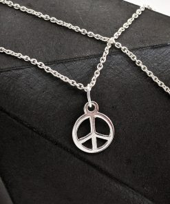 Peace Sign Silver Necklace